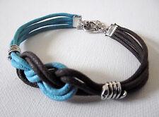 Bracelet noeud marin Marron brun & turquoise  bijou carrick cordon ciré 2 à 3 mm