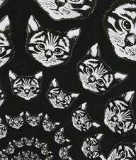 Alexander Henry Nicole Prints 8667 B Black/White Cat-finity  Cotton Fabric BTY