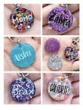 ✅ Personalized Custom Cat Tag Id Circular Tags Made With Resin And Glitter