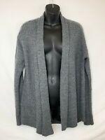 Verve Ami Women's Gray Open Front Long Sleeve Cardigan! Woven Pattern. Sz M
