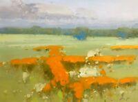 Yellow Flowers, Landscape Original Oil painting, Handmade artwork