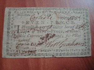 DECEMBER 12 1776 PENNSYLVANIA SEVEN 7 PENCE COLONIAL CURRENCY NOTE DECENT NoRes