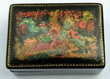 Vintage Palekh Soviet Russian lacquered hand painted old miniature box