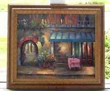W. James Oil Painting On Canvas Street Scene Restaurant/Alley/Flowers Gold Frame