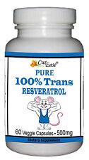 Pure 100% TRANS RESVERATROL Pill Mega Dose 500mg 60 Vegetable Capsules GMO Free