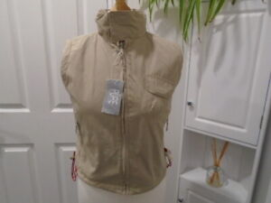 Cosy beige fleece lined gilet / sleeveless jacket, PURE, size 12, NEW with TAG