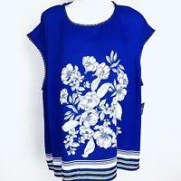 Liz Claiborne Royal Blue Multi Floral Women Blouse. Size 3X. NWT.