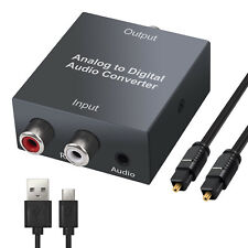 Analog to Digital Audio Converter Toslink SPDIF Optical Adapter RCA L/R 3.5mm