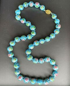 Blue Cloisonne Enamel Floral Old Chinese Bead Necklace Filigree Silver Vermeil