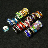 HOT 3x6mm Gold Plated Rondelle Clear Crystal Rhinestone Craft Spacer Beads 100pc