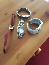 Womens Watches X 4 Silver/Blue/Red Stainless Steel Silver