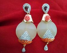 Indian Handmade Elegant Cubic Zirconia AD Stone New peach Flora Ethnic Earrings