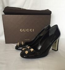Gucci Black Studded Polished Pumps Heels Loafers Shoes BNIB UK 3.5 EU 36.5