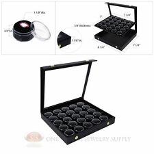 Black 25 Gem Jar Insert w/ Snap Acrylic Display Case Gemstone Storage Jewelry
