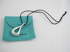 Tiffany & Co RARE HUGE Peretti Silver Open Teardrop Black Silk Cord Necklace