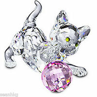 Swarovski Kitten Standing Cat Play Ball Crystal Figurine Authentic MIB - 631856