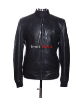 Wayne Black Men's Bomber Style Casual Real Quilted Sheep Leather Fashion Jacket