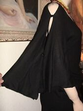 Costa Blanca batwing button sleeve tunic tie back top dress sweater black L