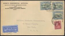 JAMAICA 1932 EARLY AIR MAIL FRANKED 10 d AIR RATE TO NY