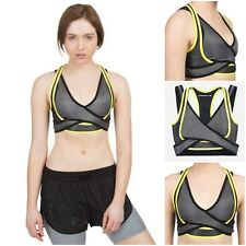 Alexander Wang x H&M Womens Sport Crop Top Size 8  Black/Grey/Yellow uk8 us4