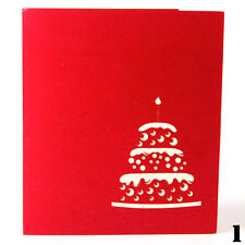 3D Pop Up Card Birthday Cake Candles Birthday Gifts Christmas Greeting Postcard