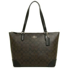 NEW WOMEN'S COACH (F29208) SIGNATURE BROWN LEATHER ZIP TOP TOTE BAG HANDBAG