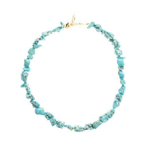 RRP €190 ANNI LU 18K Gold Plated Brass Collar Necklace Turquoise Lobster Clasp