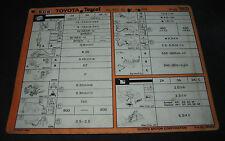 Inspektionsblatt Toyota Tercel Typ AL 20 / AL 21 / AL 25 Werkstatt Service 08/83
