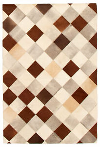 """Genuine Cowhide Patchwork Carpet 4'0"""" x 5'11"""" Ivory Leather Area Rug"""