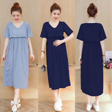 Nursing Breastfeeding Dress Maternity Mid-calf Ruffles Cotton Cute M/L/XL/2XL