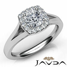 Cushion Diamond Stunning Engagement GIA F VVS2 Halo Pre-Set Ring Platinum 0.91Ct