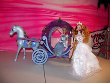 Disney Princess Cinderella Twinkle Light Carriage Coach and Horse + glenda doll
