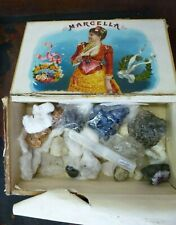 Vintage Crystal collection Desert Rose, Amethyst, Selenite + cigarbox Divination