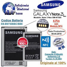 Batteria Samsung Galaxy Note 3 Neo N7505 NFC 3100 mAh EB-BN750BBC/BBE Originale