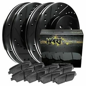 [FRONT+REAR KIT] Black Hart *DRILLED & SLOTTED* Brake Rotors +Ceramic Pads C1411