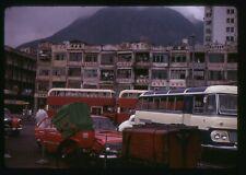 Retro 35mm Photo Slide 1969 Street scene Double Decker Buses Singapore