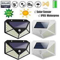 100 LED Solar Motion Sensor Wall Light Outdoor Waterproof Garden Security Lamp