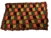 """Vintage Hand Made 36"""" x 60"""" Multi Color Afghan Crochet Knit Granny Throw"""