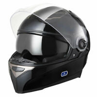 DOT Motorcycle Full Face Helmet Dual Visor ABS Scooter Street Bike Touring Black