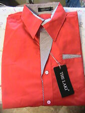 "MEN RED~BLACK STRIPE ACCENT SHIRT~MED-LG~chest 43-1/2""~neck 15-1/2"" sleeve 26"" L"