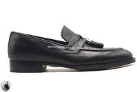 Mocassins en cuir noir véritable faits à la main pour hommes Chaussures à glands