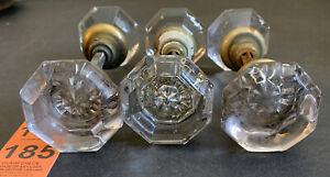 Lot of 6 Vintage Antique Glass Crystal 8 Point Side Octagon Shape Door Knobs