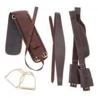 Western Brown Leather Australian Saddle Replacement Fender with Stirrups & Girth