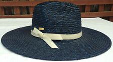 KANGOL-GLOSSY SIREN Wide Brim Hat-Navy-Medium-NWT 100% Wheat Straw