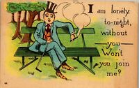 I am Lonely tonight Humor invitation card 1908 2 cent Vintage Postcard DD