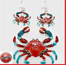 """+ 23"""" Chain Ocean Life Sea Red Crab Pendant Necklace Earrings Long SET"""