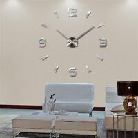 Mode DIY 3D Large Mirror Surface Wall Clock Sticker-Home Office Decor NEU