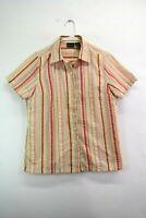 Bobbie Brooks Women's Medium Short Sleeve Button Up Striped Shirt Blouse