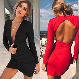 Deep V Sexy Women Dress Long Sleeve Slim High waist Dresses Backless Party Dress