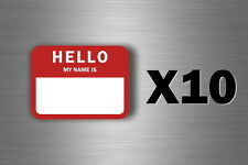 10x sticker hello my name is red adhesive labets tags badges identification